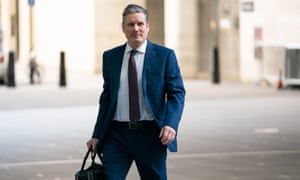 Newly elected Labour leader Sir Keir Starmer arrives at BBC Broadcasting House in London.