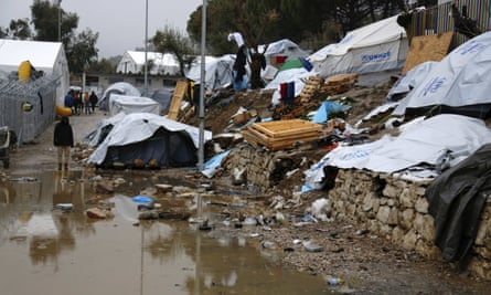 Moria refugee camp on the Greek island of Lesbos.