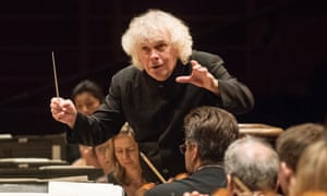 Simon Rattle rehearsing with LSO at the Barbican. Photo by Linda Nylind. 14/9/2017.