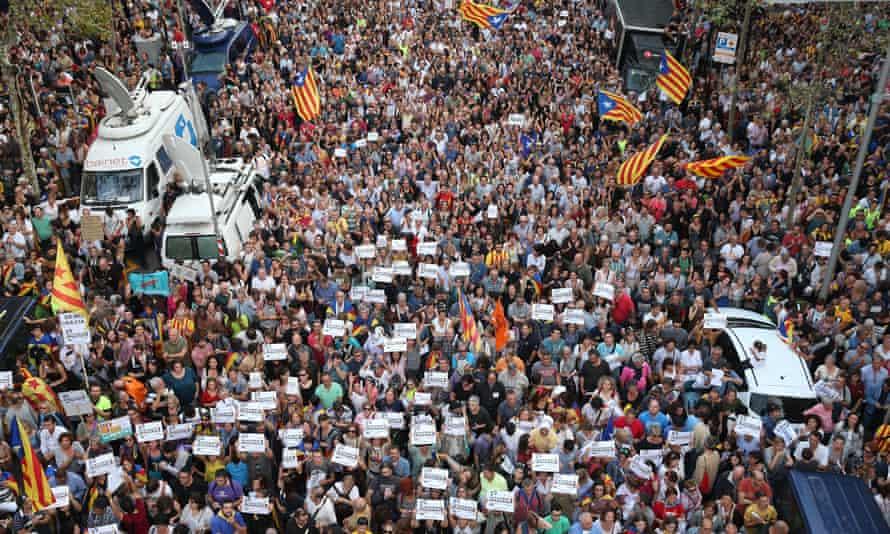 Catalan protestors in Barcelona