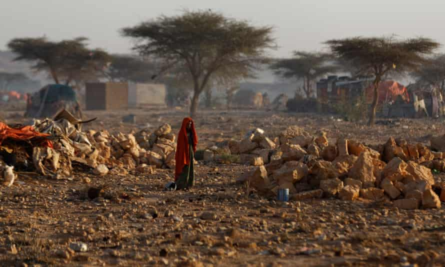 People displaced from their homes by drought in Qardho, Somalia