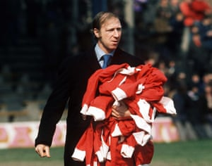 April 1974: Jack Charlton the Middlesbrough Manager with his players tracksuit tops.