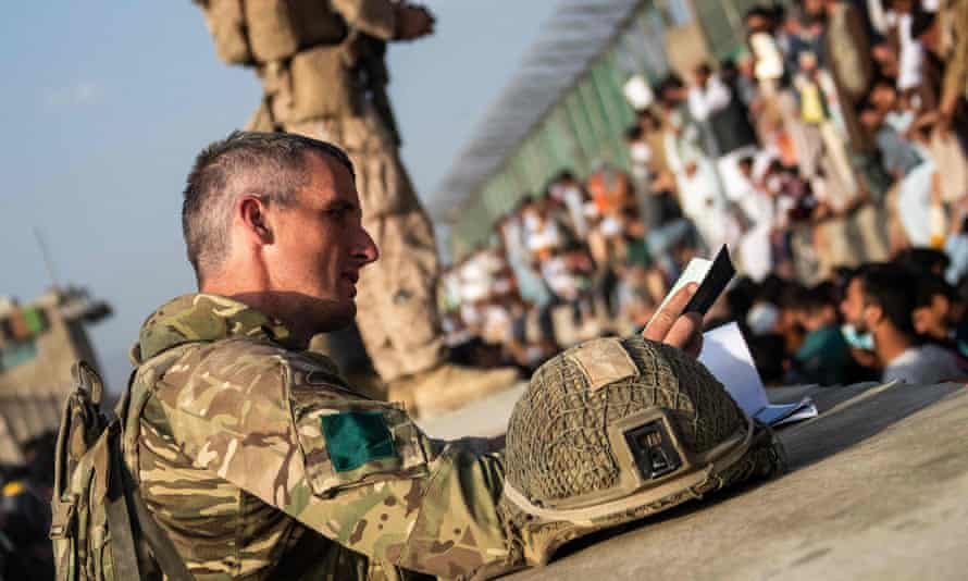 Members of the UK armed forces during the operation to support the evacuation of British nationals and entitled personnel at Kabul airport.