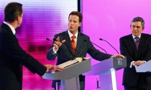 David Cameron, Nick Clegg and Gordon Brown in a 2010 debate at the University of Birmingham.