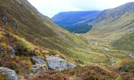 View of the Jock's Road descending from higher ground into Glen Doll, Scotland.