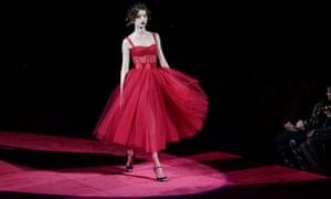 Catwalk model in red dress