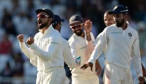 Virat Kohli of India celebrates after the dismissal of Chris Woakes of England.