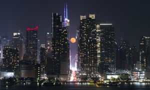 Moonrise over 42nd Street as seen from Weehawken, New Jersey