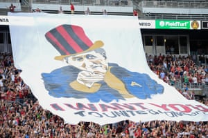 Atlanta United fan banner featuring owner Arthur Blank is displayed before the start of the match against the San Jose Earthquakes in July 2017.