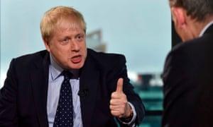 Bullish and shifty: Boris Johnson on The Andrew Marr Show.