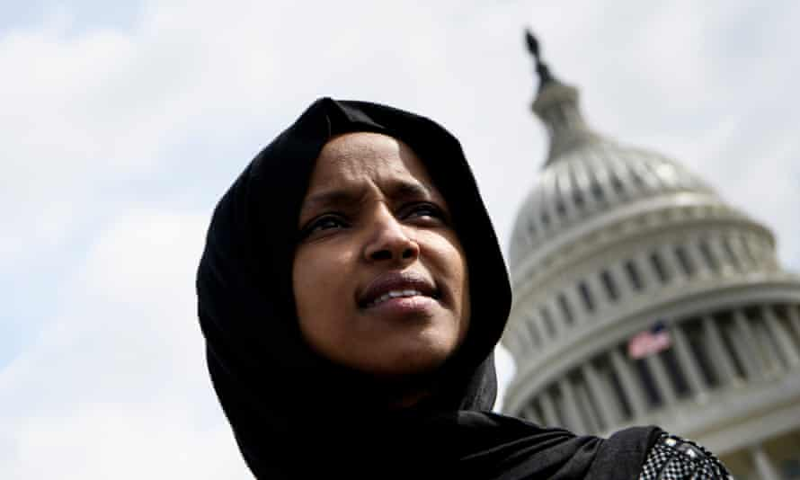Ilhan Omar in front of the US Capitol on 15 March.