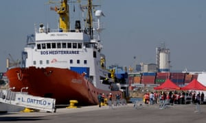 The Aquarius rescue ship at the port of Valencia