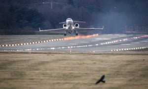 An Algerian government aircraft, believed to be carrying Abdelaziz Bouteflika, takes off from Geneva airport