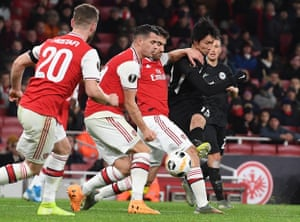 Daichi Kamada curls in the first of his two goals during Eintracht Frankfurt's 2-1 Europa League win over Arsenal at the Emirates.