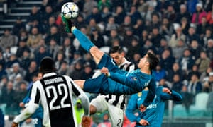 Cristiano Ronaldo scores Real Madrid's second goal in the 3-0 win at Juventus.