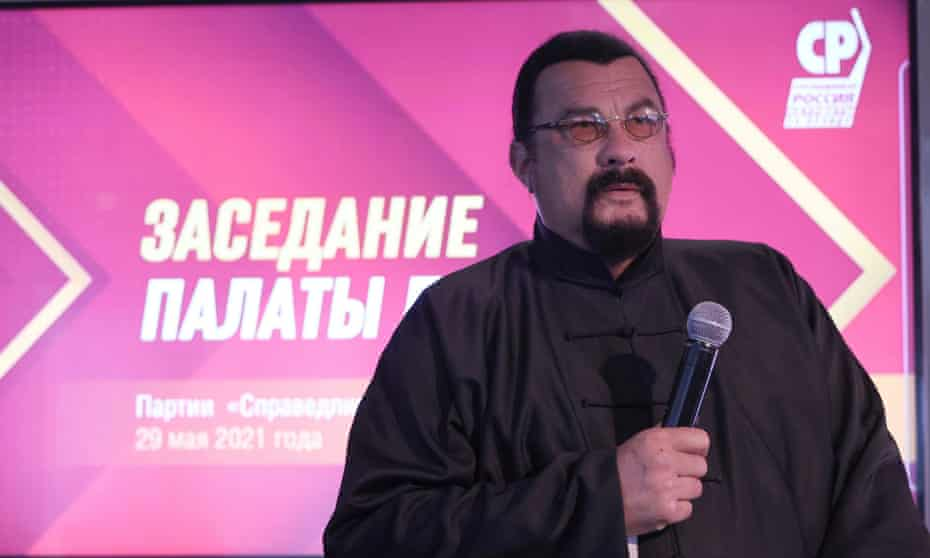 Steven Seagal speaking at the A Just Russia – Patriots – For Truth party meeting in Moscow