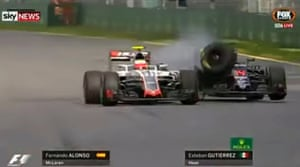 Fernando Alonso's McLaren clipped the rear flank of Esteban Gutiérrez's Haas on turn three of the 17th lap at Albert Park.