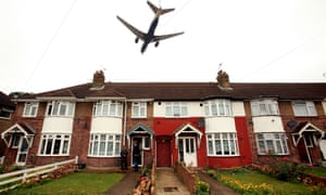 A plane flying over Harmondsworth