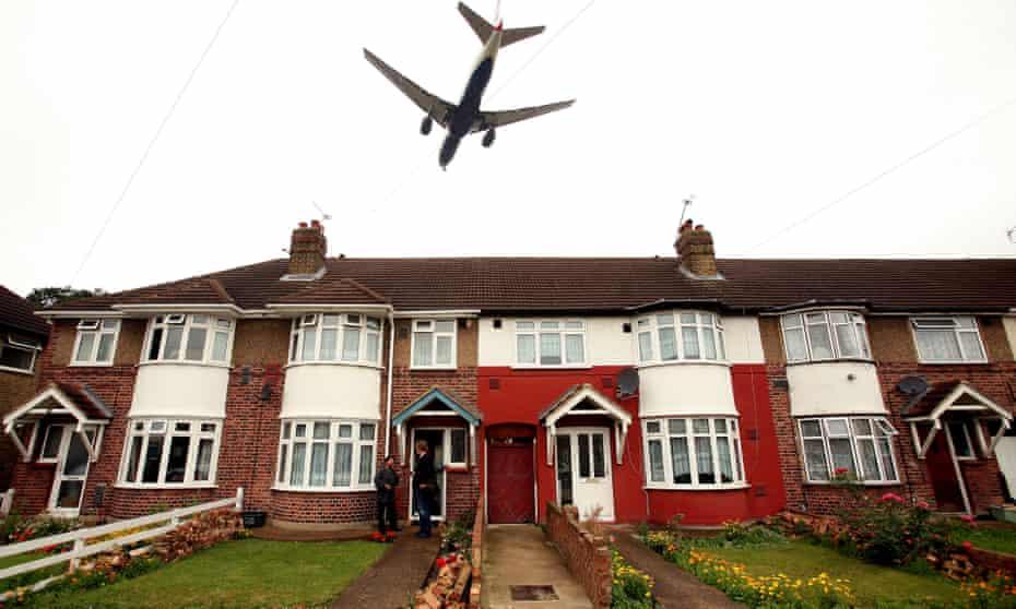 A plane flying over Harmondsworth
