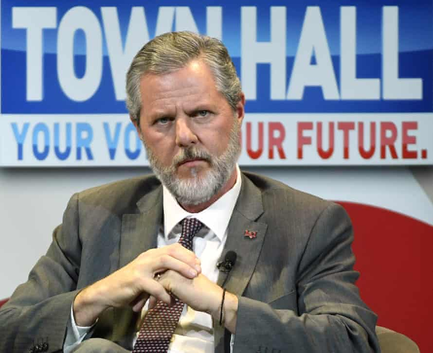 Falwell Jr participates in a town hall meeting on the opioid crisis, part of Melania Trump's Be Best initiative, in Las Vegas, Nevada, in 2019.