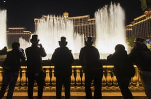 People gather to watch the Bellagio fountain show in Las Vegas on New Year's Eve in 2019.