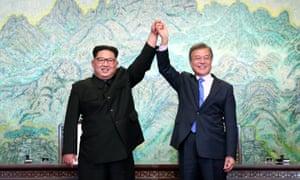 South Korea's President Moon Jae-in and North Korean Kim Jong Un meet in Panmunjom today.
