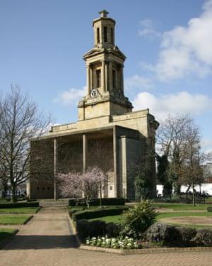 City of Birmingham, England. St Thomas's Church and Peace Garden