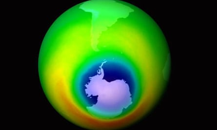 Areas of depleted ozone, shown in blue, over the Antarctic in 1999
