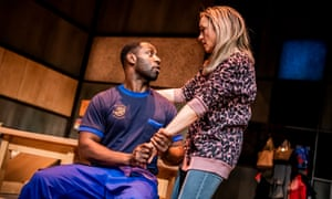 Richie Campbell as Gary and Claire-Louise Cordwell as Nicky in A Kind of People at the Royal Court, London.