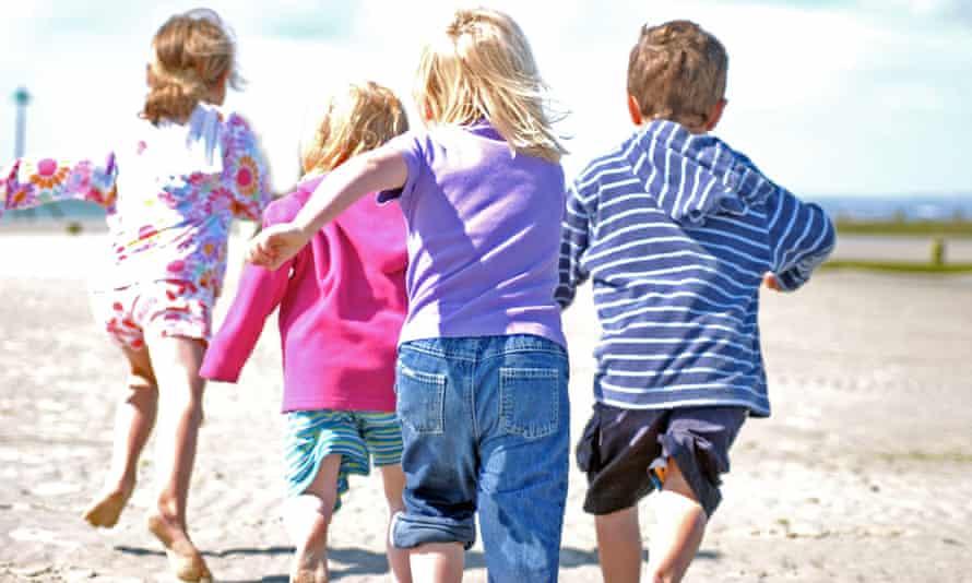 Children play on a British beach