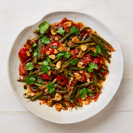 Yotam Ottolenghi's braised green beans with tomato, cardamom and garlic.