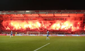 There was a fiery atmosphere inside the ground.