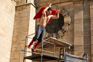 Urban free-runner Tony Thich from Compagnie Yann Lheureux performs Flagrant Délire outside Derby Cathedral.
