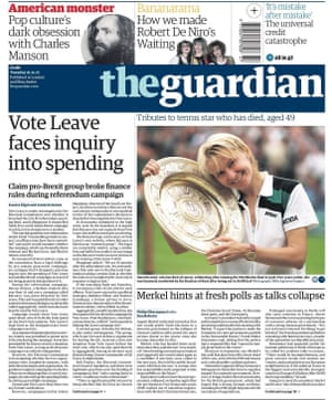 Guardian front page, 21 November 2017
