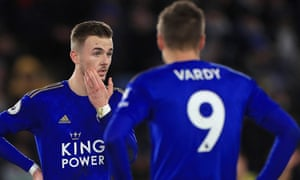 James Maddison (left) and his fellow Leicester midfielders have struggled to provide Jamie Vardy with assistance going forward.