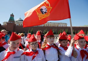 Members of the Russian Young Pioneers attend a ceremony in Moscow, organised by the Russian Communist party, welcoming new members