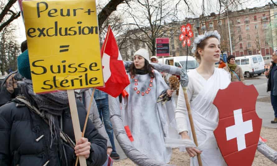 Demonstrators in Geneva