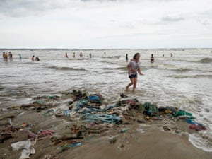 Waste pollutes beaches in Vietnam's Bin Thuan province.