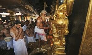 Sabarimala temple, one of the world's largest Hindu pilgrimage sites, in Kerala, India.