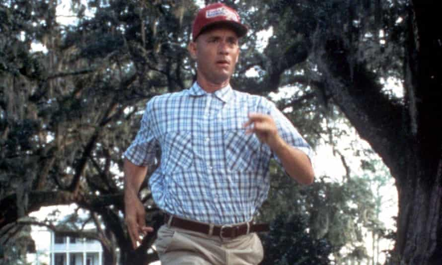 Tom Hanks running in a shirt and cap in the 1994 film Forrest Gump
