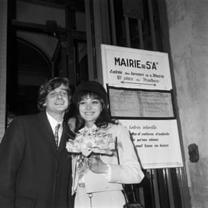 Anna Karina and fellow actor Pierre Fabre before their wedding at the town hall of the fifth arrondissement in Paris on 13 February 1968