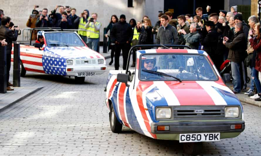 Wheeling out the hype: Matt LeBlanc and Chris Evans film for BBC Top Gear in London.