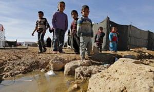 Syrian children at the Zaatari refugee camp in the Jordanian city of Mafraq