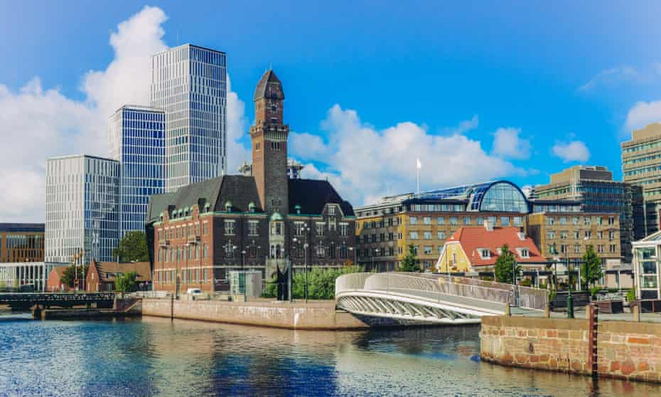 Downtown Malmö, Sweden. Old buildings and modern developments on the waterfront.
