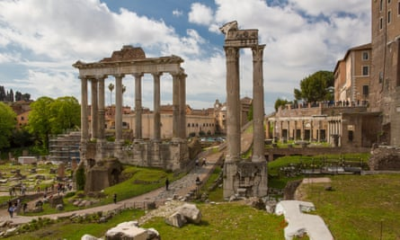 Ancient Rome today: ruins of the Temple of Saturn below the Capitoline Hill (right of picture).