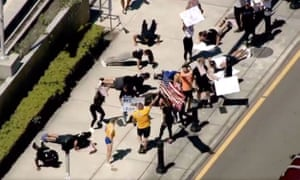 Gym-goers protest outside a courthouse in Florida.