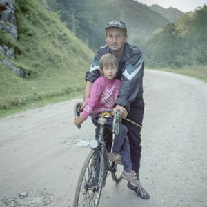 Family day The Crăciun family out on a Sunday bike ride in the Jiu Valley, Hunedoara county in 2014