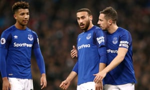 Cenk Tosun, centre, made his debut for Everton against Tottenham at Wembley