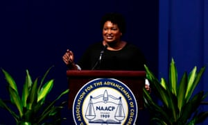 Stacey Abrams speaks during the NAACPs 110th national convention in Detroit.