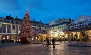 A view of the Christmas Tree lit up in Covent Garden, London during the second coronavirus lockdown on 10 November
